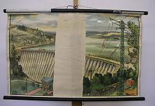 Schulwandbild Talsperre im Sauerland Wasserwerk Stausee 87x54cm vintage map~1955