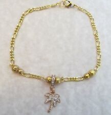 Gold Rhinestone Palm Tree Anklet, Beach Anklet, Seashell Anklet, Tropical Anklet