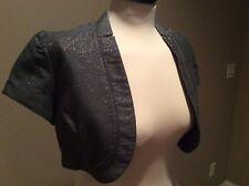 The Limited Grey Metallic Short Sleeve Crop Jacket Size S