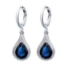 Pretty New Silver Plated Sapphire Blue Pear Shape Teardrop Dangle Drop Earrings