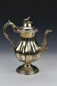 Heavy Cast Early American Coin Silver Tea / Coffee Pot R&W Wilson Philadelphia