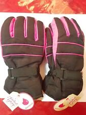 2 Pairs Faded Glory Solid Snow Gloves L-Xl Size Kids Waterproof Black Soot Pink