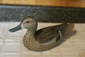 Handpainted Wood Green-Winged Teal Duck Decoy Marked B CHA???