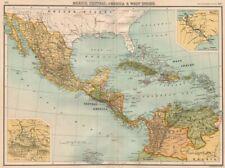CENTRAL AMERICA. Mexico & Caribbean. Panama canal. BARTHOLOMEW 1898 old map