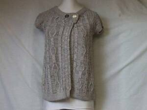 RIVER ISLAND GREY SILVER CABLE KNITTED CARDI JACKET TOP LADIES 12 TEEN GIRL