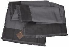 NEW Gucci Unisex 371461 Grey Wool Silk Modal Colorblock Scarf 55 x 55