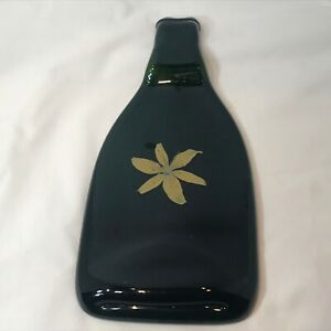 Wine Cheese Tray Black With Yellow Flower Made Out of Recycled glass Wine Bottle