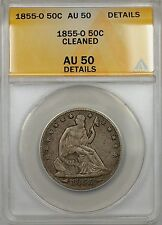 1855-O Seated Liberty Silver Half Dollar 50c Coin ANACS AU 50 Cleaned