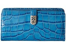 NWT Brighton MINGLE Large Clutch Croc  BALI BLUE Leather Wallet MSRP $130