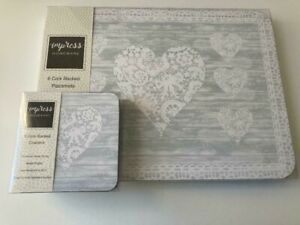 Set of 6 Lace Love Hearts Placemats & Coasters Pale Grey & White Dinner Dining