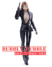 "1/6 Black Widow Leather Suit For 12"" PHICEN Hot Toys Female Figure SHIP FROM USA"