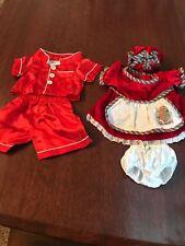 Build A Bear Christmas Dress W/ Hat, Bloomers PLUS Silky RED Pajamas PJ EUC