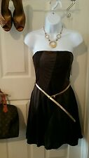 US Seller New Size Large Black/Gray Casual/Party Dress w/ Gold Belt Shift Dress