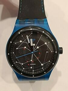 Swatch System Blue Automatic Black Dial Watch 19 Jewels
