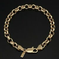 18K Yellow Gold GL Medium Solid Women's Belcher Bracelet with Parrot Clasp 20cm