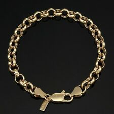 18K Yellow Gold GL Medium Solid Women's Belcher Bracelet with Parrot Clasp 20cm
