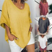 Womens Tunic Tops Baggy Tee T-Shirt Summer Casual Loose Blouse Tops Plus Size
