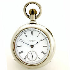 ANTIQUE ILLINOIS POCKET WATCH CA1890 | 7 JEWEL 18 SIZE  IN 4 OZ COIN SILVER CASE