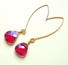 Ruby Flat Crystal Briolette Long Hook Gold Earrings made with Swarovski Element