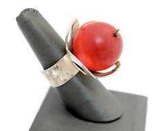 BIG Vintage FINLAND Modernist AARIKKA Sterling Silver Plated WOOD Cocktail Ring