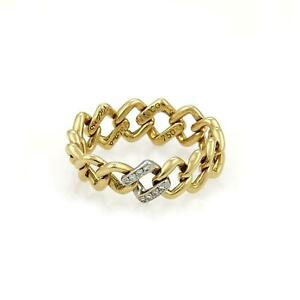 Tiffany & Co. Picasso Diamond 18k Gold Square Link Flex Band Ring Size 4.5