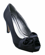 LADIES BLACK SLIP-ON SATIN PEEP-TOE PARTY BOW EVENING PROM COURT SHOES SIZE 3-8