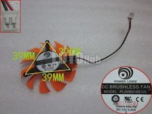 Power Logic PLD06010S12L Graphics card Fan DC 12V 0.2A 2-Pin Sleeve