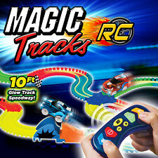 Magic Tracks RC with Remote Control Turbo Race Car and 10 ft Flexible BLUE CAR