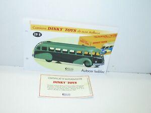 1 Sheet + Certif. Dinky Toys Atlas Repro Ref 29 E.2, Bus Isobloc Green