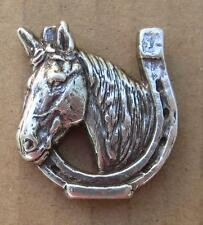 "Lucky Horse w/ horseshoe concho silver finish 1"" wide  two holes includes screws"