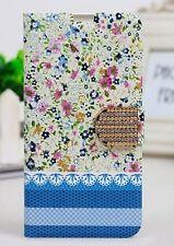 Etui portefeuille housse Samsung Galaxy S5 bleu turquoise fleuri décoré NEUF