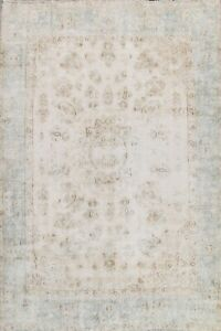 Antique Distressed Paisley Traditional Muted Area Rug Hand-knotted Oriental 8x10