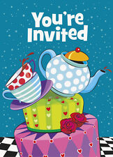 MAD HATTER TEA PARTY INVITATIONS (8) ~ Birthday Supplies Stationery Cards Notes