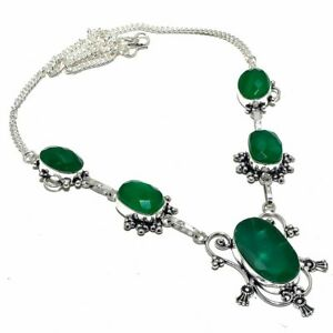 "Zambian Emerald Gemstone Handmade Ethnic Silver Jewelry Necklace 18"" NLG3464"