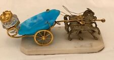 Antique French Palais Royal bronze horses pulling a blue opaline glass cart carr