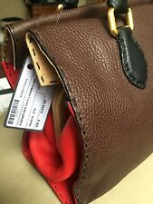 """NWT FENDI Brown, Red & Black Leather Wood  Selleria """"Firenze"""" Frame Tote Bag"""