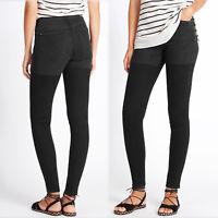 New M&S INDIGO by Lulu Kennedy SKINNY Leg JEANS ~ Size 18 Med. ~ BLACK two-tone