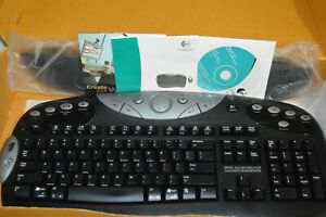 LOGITECH black cordless Y-RJ20 Keyboard armrest + CD many buttons no receiver