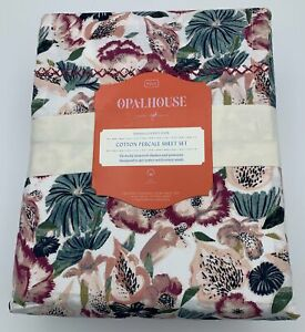 OPALHOUSE Full Sheet Set NEW IN PACKAGE Cotton Percale Purple Floral Print