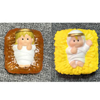 2x Fisher Price Little People Baby Jesus Square & Baby Jesus in Hay Bed Toys