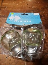 My Room Cambria Classic 2-Pack Smooth Glass Ball Finial, Green