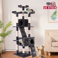 """67"""" Cat Tree Pet Kitty Play House Tower Condo Furniture Scratching Post Gray"""