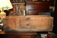 Big Antique Atlas Powder Company Dynamite High Explosives Wood Box Wooden Crate