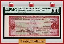 TT ND (1970s) STATE BANK OF INDIA TRAVELLERS CHEQUE 50 RUPEES SPECIMEN PMG 66Q!