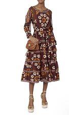 Rhode Resort Suzani Cold Shoulder Floral Burgundy Orange Maxi Flare Dress Medium