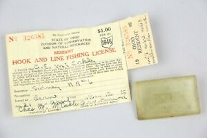 RARE 1946 Vintage Fishing License paper and Holder Sidney, Ohio WWII ERA