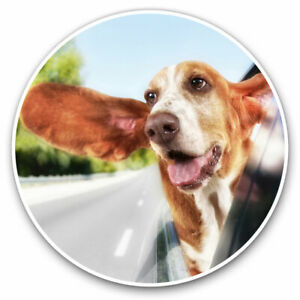 2 x Vinyl Stickers 7.5cm - Funny Basset Hound Dog Pets Cool Gift #3703
