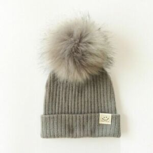 Baby Cap Hat Boy Girl Artificial Pompom Knitted Toddler Kids Caps Winter Beanies