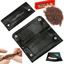 Soft leather Tobacco pouch wallet smoking case tabacco Rizla Swan slot pocket