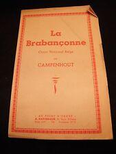Partition La Brabançonne Chant National Belge Campenhout Music Sheet